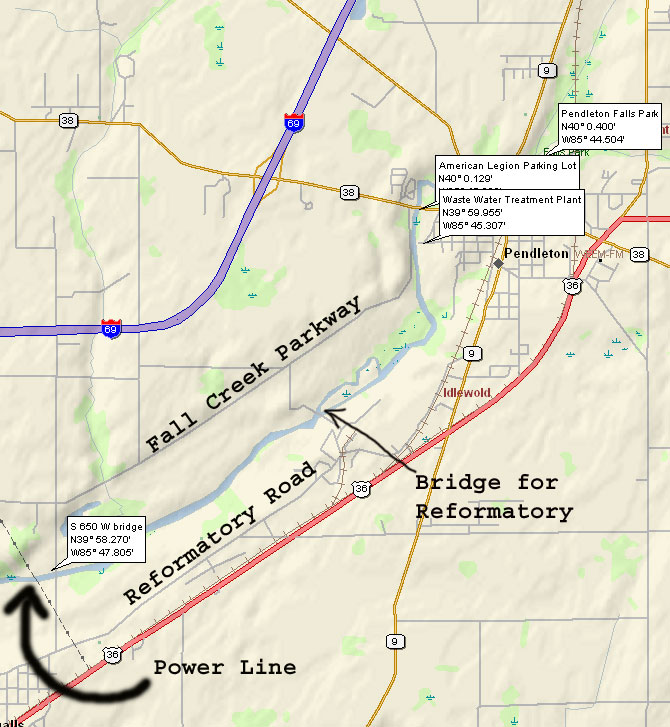 map of Fall Creek from Pendleton to CR S 650 W